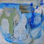 Silvia Golja, ''The wait'', kombinirana tehnika akrila i ugljena na MDF ploči, 33.5x33.5 cm