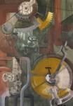 ''Kompozicija'', akrilna boja i kolaž na papiru, 84x60 cm, 2016.