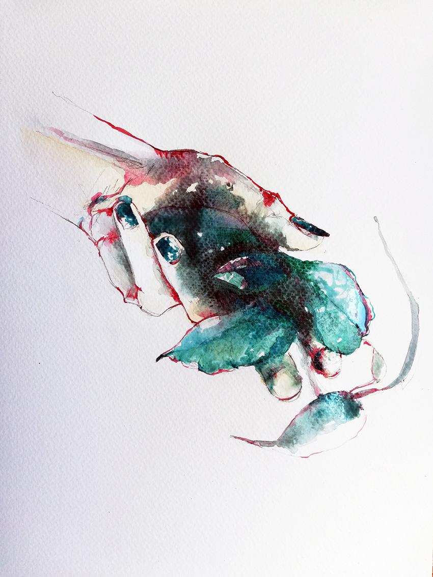 Silvia Golja, ''Touch'', akvarel na papiru, 35x25 cm