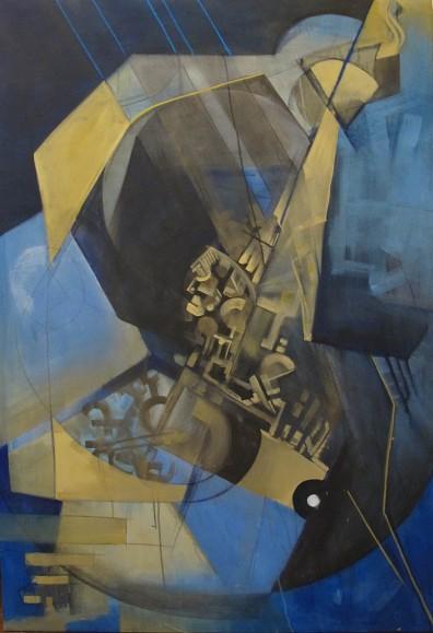 ''Reći svijetu'', intertekstualno-slikovna razmjena + pjesma; iz serije radova ''Umjetnost življenja''; akrilne boje i suhi pastel na platnu; 160 x 110 cm, 2019.