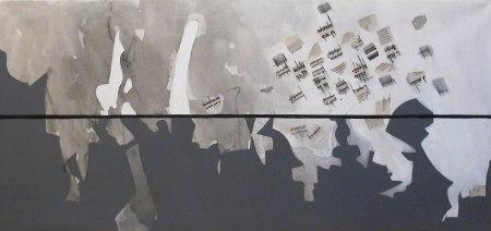 ''Pejsaž'', intertekstualno-slikovna razmjena + pjesma; iz serije radova ''Umjetnost življenja''; akrilna boja i kolaž na platnu; 60 x 130 cm, 2019.