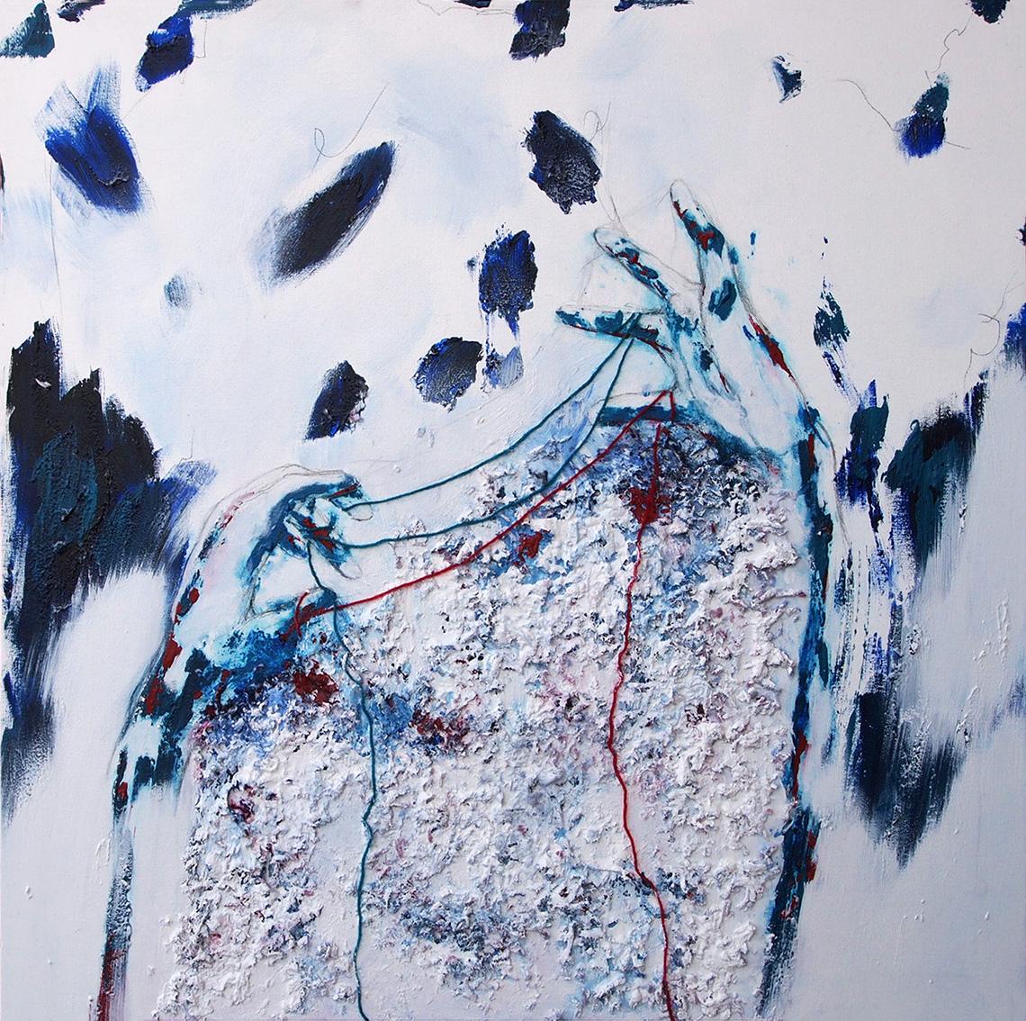 Silvia Golja, ''Vizualne varijacije 3'', kombinirana tehnika akrila, ugljena i vune na platnu, 80x80 cm