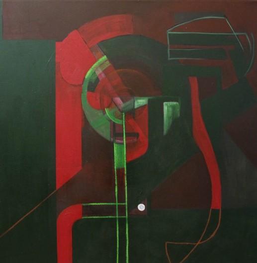 ''Lik'', intertekstualno-slikovna razmjena + pjesma; iz serije radova ''Umjetnost življenja''; akrilna boja i suhi pastel na platnu; 89 x 89 cm, 2021.