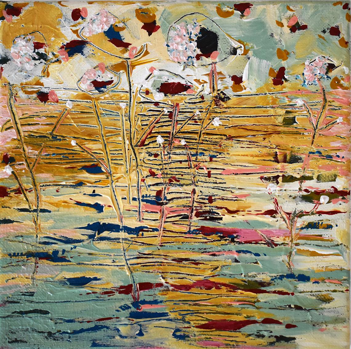 Silvia Golja, ''Wild flowers'', akril na platnu, 20x20 cm