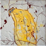 Silvia Golja, ''Yellow Vase'', akril na platnu, 20x20 cm