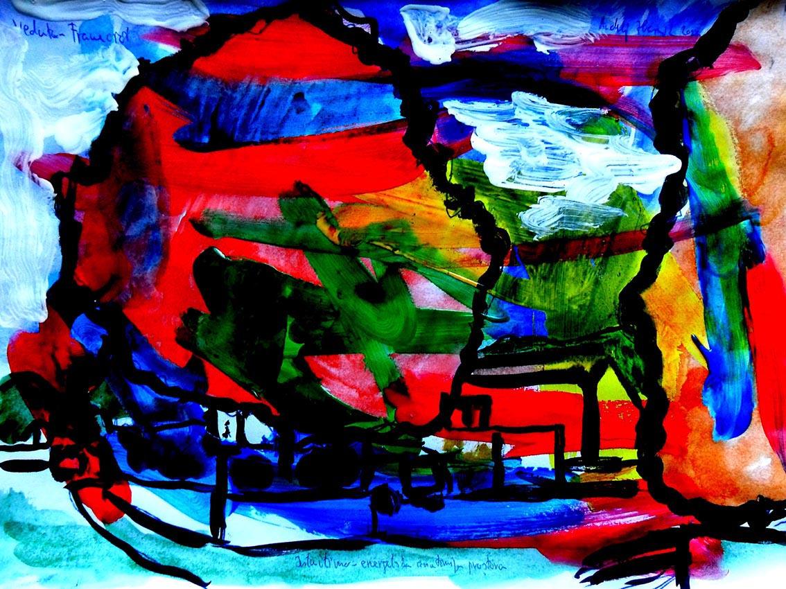 Andrej Zbašnik, ''Intuitivno – energetska anatomija prostora – veduta'', digitalno slikarstvo, A4