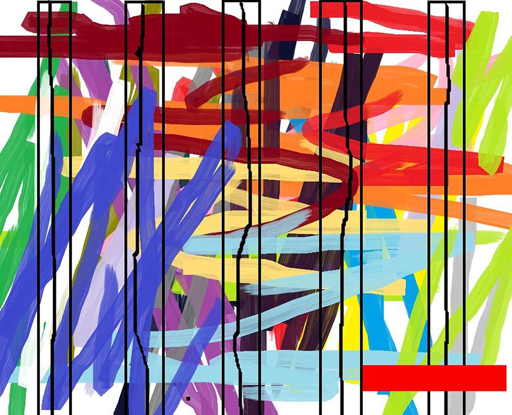 Andrej Zbašnik, ''Sinteza ritmičkih polja 2'', digitalno slikarstvo, 21x30 cm