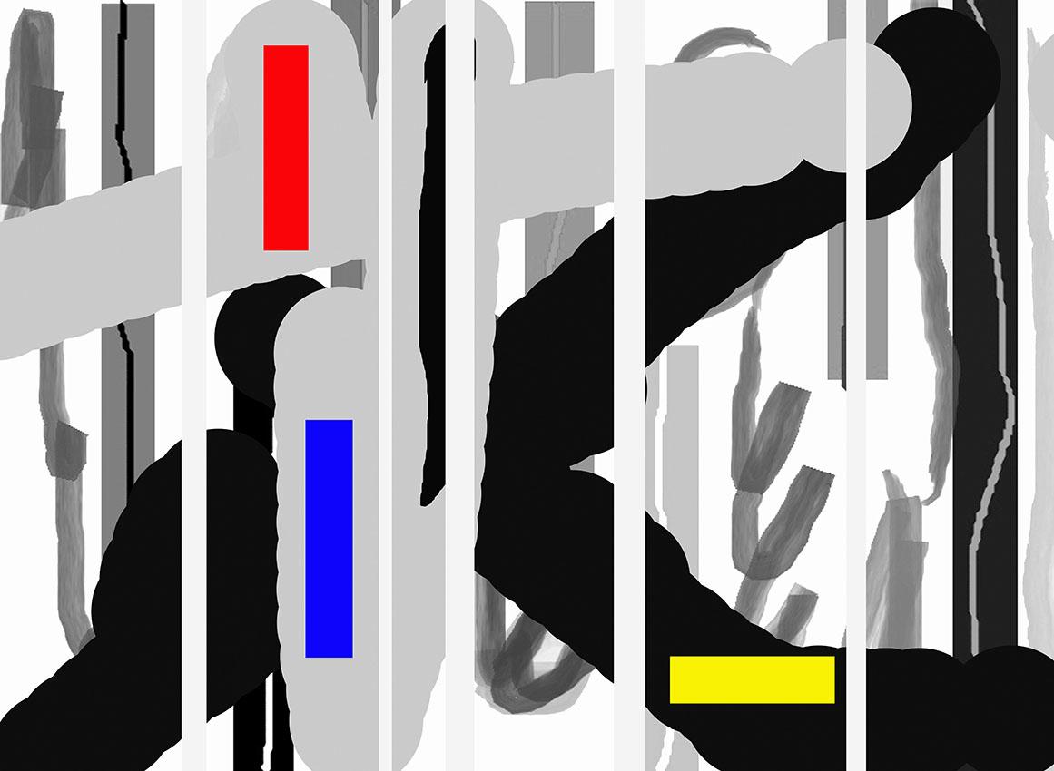Andrej Zbašnik, ''Sinteza ritmičkih polja 3'', digitalno slikarstvo, 21x30 cm