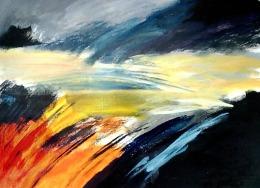 "Suzana Gajdek, ""The light is coming"", akril na papiru, 50×70 cm"