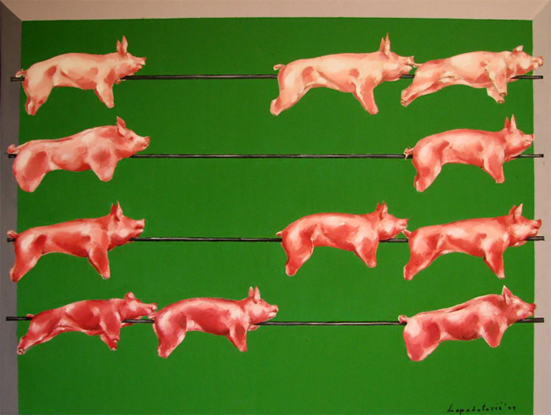 Marina Lapadatović, ''Proračunate svinje'', ulje na platnu, 50x60 cm