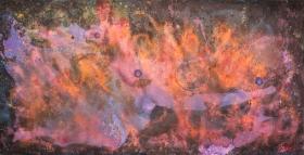 Luka Koščak, ''Svemir (1)'', akril na platnu, 100x200 cm