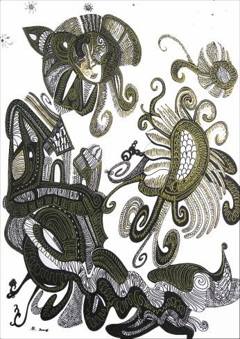 K. Gojanović, ''Čežnje'', tuš na papiru, 30x20 cm