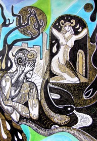 K. Gojanović, ''Ekstatično'', tuš u boji na papiru, 30x20 cm