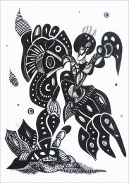 K. Gojanović, ''Šišmiš'', tuš na papiru, 30x20 cm
