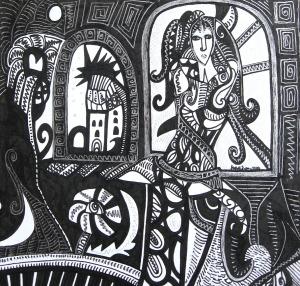 K. Gojanović, ''Skrivena'', tuš na papiru, 20x21 cm, .jpg