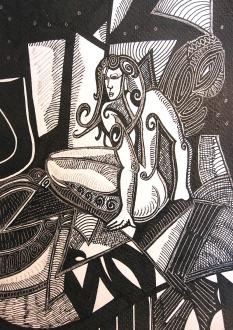 K. Gojanović, ''Sukuba'', tuš na papiru, 25x18 cm