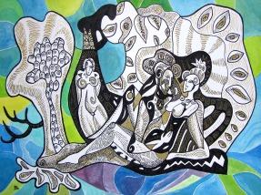 K. Gojanović, ''U plavetnilu'', tuš / akvarel na papiru, 30x40 cm