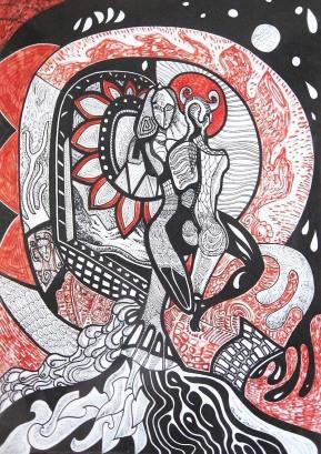 K. Gojanović, ''Ljubavnici'', tuš u boji na papiru, 40x30 cm