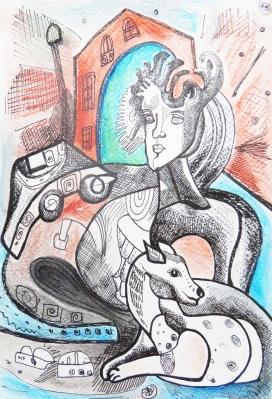 K. Gojanović, ''Iščekivanje'', tuš / akvarel na papiru, 25x17 cm