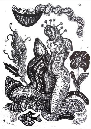 K. Gojanović, ''Čistoća (Kupačica)'', tuš na papiru, 30x21 cm
