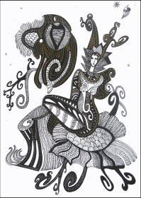 K. Gojanović, ''Mjesečina'', crtež tuš na papiru, 30x20 cm