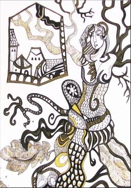 K. Gojanović, ''Rasplesana'', tuš u boji na papiru, 30x20 cm