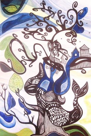 K. Gojanović, ''Rotiranje'', tuš / akvarel na papiru, 40x27 cm