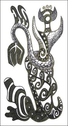 K. Gojanović, ''Slojevita'', tuš na papiru, 25x14 cm