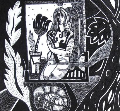 K. Gojanović, ''Snatrenje'', tuš na papiru, 25x27 cm