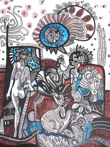 K. Gojanović, ''Svitanja'', tuš na papiru, 40x30 cm