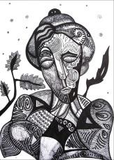 K. Gojanović, ''Utjeha'', tuš na papiru, 30x20 cm