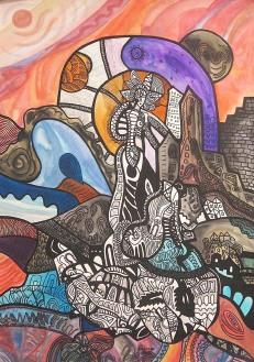 K. Gojanović, ''Vrijeme tišine'', tuš u boji na papiru, 40x30 cm