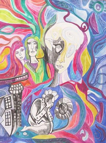 K. Gojanović, ''Začudnost'', tuš / akvarel na papiru, 40x30 cm