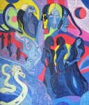''Moon Transformations'', akril na platnu, 70x60 cm, 2020.