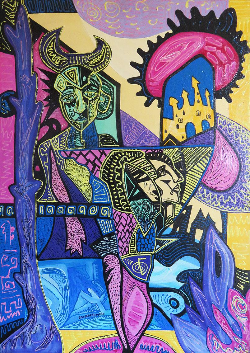 ''Izidin hram'', akril na platnu, 70x50 cm, 2000.