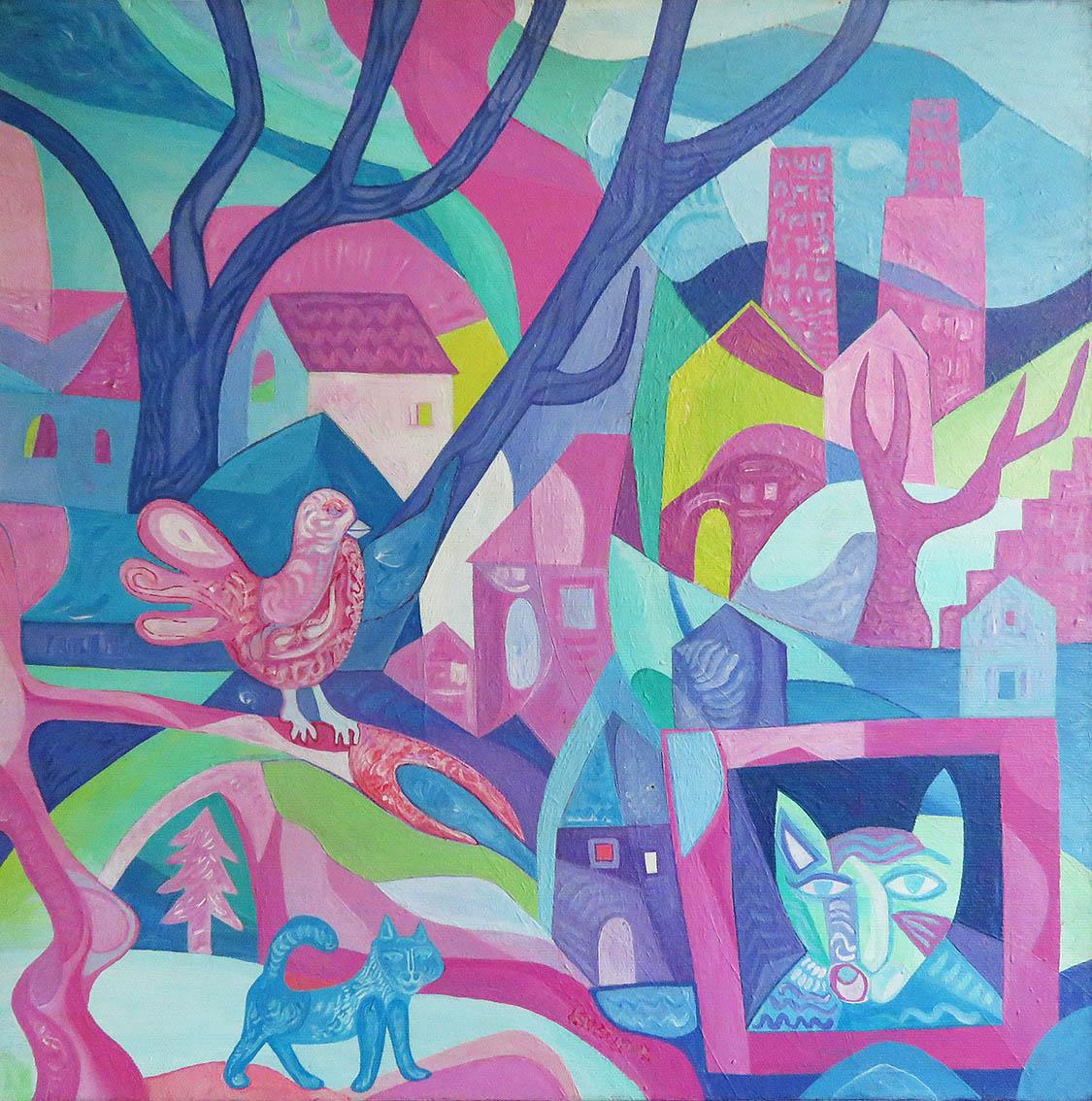 ''Putevi lutajuće mačke 1'', akril na platnu, 50x40 cm, 2009.