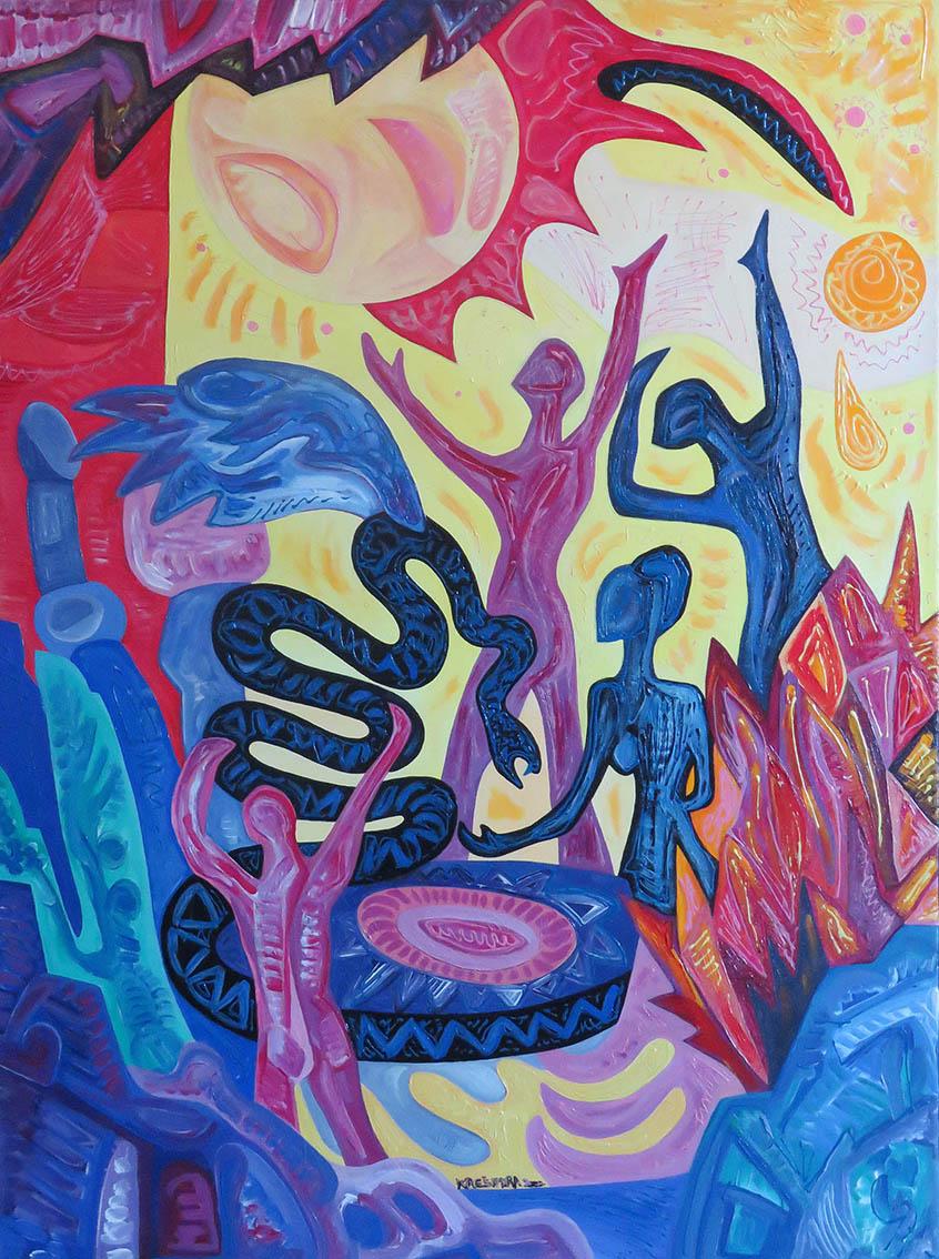''Ples sa krilatom zmijom'', akril na platnu, 80x60 cm, 2000.
