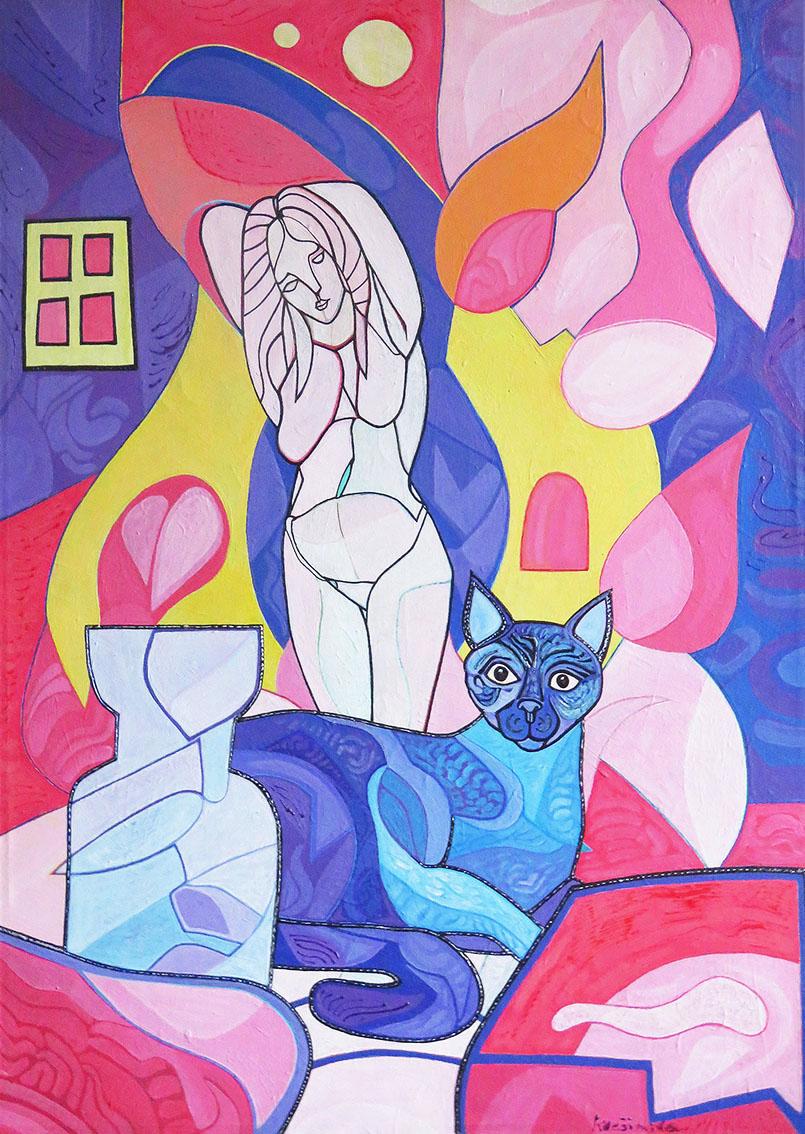''Žena, mačka i šampanjac'', akril na platnu, 70x50 cm, 2015.
