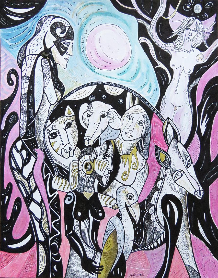 ''Bez cenzusa u divljini'', iz ciklusa ''Život umjetnice'', tuš / akvarel na papiru, 50x40 cm, 2021.