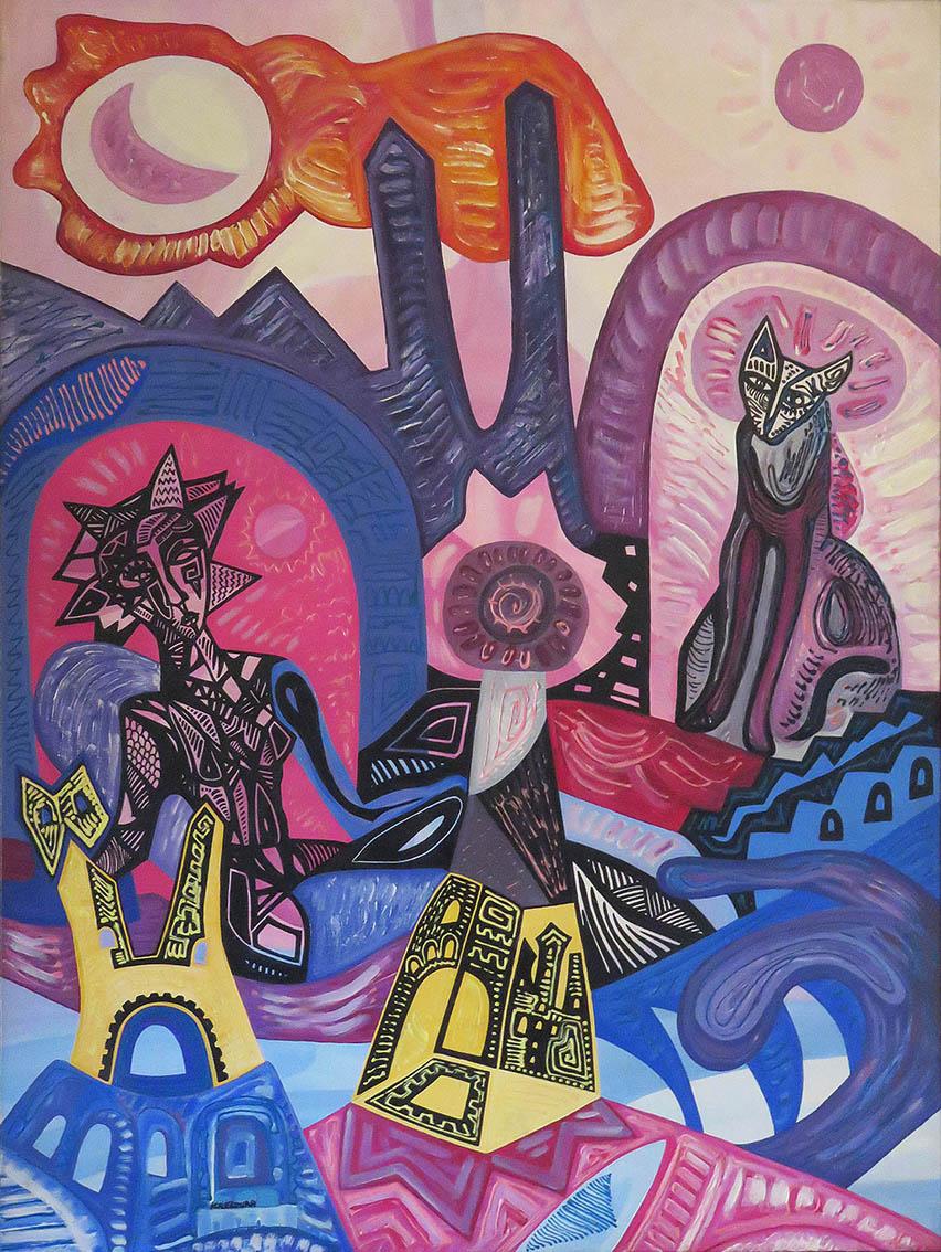 ''Isis and Bast'', akril na platnu, 80x60 cm, 2005.