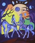 ''Centaur Love'', akril na platnu, 50x40 cm, 2016.