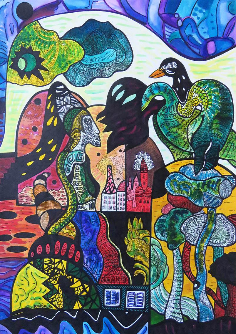 ''Izida i orao'', crtež tuš na papiru, 70x50 cm, 1998.