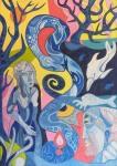 ''Ples Kundalini'', akril na platnu, 70x50 cm, 2019.