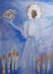 Marija Kruljac, ''Otkrivenje - Sedmi pečat'', kombinirana tehnika na platnu, 70×50 cm