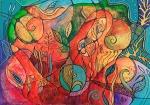 "Suzana Gajdek, ""Feeling alive"", kombinirana tehnika na papiru, 50x70 cm"