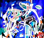 Mladen Žunjić, ''Pokušaj prilagodbe 1'', akril na platnu + digital art, 90x100 cm
