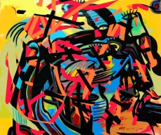 Mladen Žunjić, ''Pokušaj prilagodbe 3'', akril na platnu + digital art, 90x100 cm