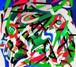 Mladen Žunjić, ''Raspad slikarstva'', akril na platnu + digital art, 90x100 cm
