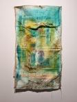 Monika Cvitanovic Zaper, ''Mapa nostalgije'', akril i konac na recikliranoj jastučnici, 75,5x50 cm