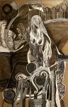 Nataša Ač, ''Novi početak'', crne i bijele keramičke olovke, 64×41 cm